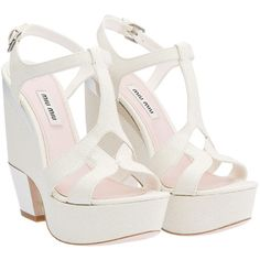 Miu Miu Wedges ($710) ❤ liked on Polyvore featuring shoes, sandals, heels, wedges, wedge heel sandals, high heel shoes, high heel sandals, heeled sandals y leather sole shoes