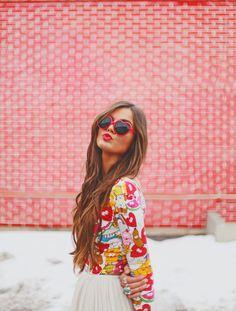 Large Thin Cute Womens Heart Shape Fashion Sunglasses 8468