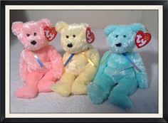 c613c3eff07 3 SHERBET BEAR LOT TY Beanie Babies Baby GREEN YELLOW PINK  Ty