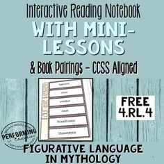 Free Interactive Notebook Pages 4th for Common Core Standard RL.4.4 Figurative Language - Simile, Metaphor, and more in Mythology.