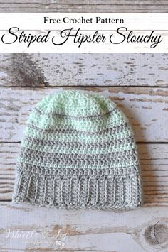 Free Crochet Pattern - Striped Hipster Slouchy Beanie HAHAHA love the name, totally want to make this Crochet Adult Hat, Crochet Cap, Crochet Beanie, Cute Crochet, Crochet Scarves, Crochet Crafts, Crochet Clothes, Crochet Stitches, Crochet Hooks