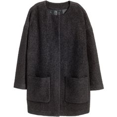 H&M Bouclé coat in a wool blend ($73) ❤ liked on Polyvore featuring outerwear, coats, jackets, h&m, black, long sleeve coat, h&m coats, black coat and wool blend coat