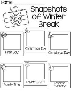 SNAPSHOTS OF WINTER BREAK- FREEBIE - TeachersPayTeachers.com