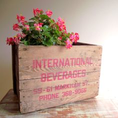 Wood Crate Box Wooden Vintage Rustic Industrial Decor by gazaboo