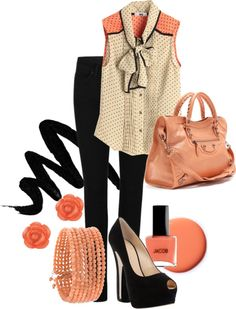 """Coral Obsession"" by karrina-renee-krueger ❤ liked on Polyvore"