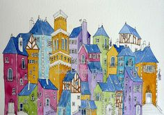 a montage of houses An original watercolour by shelikesthis