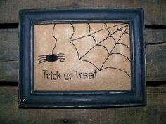 Primitive Halloween Prim Spider Spiderweb UNFRAMED by wvluckygirl, $10.49