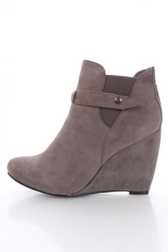 $21 Grey Faux Suede Apron Front Ankle Wedge Bootie Wedges Heels