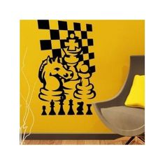 "Style and Apply Chess Game Wall Decal Color: Yellow, Size: 80"" H x 46"" W"