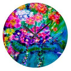 Whimsical Summer Day Flower Wall Clock Round Exquisitely gorgeous, you will find overwhelming appeal in our Stunning Whimsical Summer Day Designer Art Gift Collection. This item features a stunning color palette inspired by the lush green gardens of the English Country-side. Give the perfect gift or get beautiful items from our Magnificent Whimsical Summer Day Designer Art Collection especially for you!