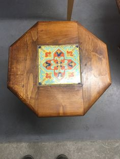 All of the tiles have a chip or glaze flaking on the rim. Octagon Table, Tile Tables, Vintage Tile, Vintage California, Glaze, Tiles, Spanish, Decorative Boxes, Pottery