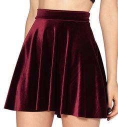 Wine Red Velvet Skater Skirt