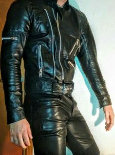 Choosing The Right Men's Leather Jackets. A leather coat is a must for every single guy's closet and is also an excellent method to express his personal design. Leather coats never ever head Mens Leather Trousers, Biker Leather, Black Leather, Leather Jackets, Revival Clothing, Leder Outfits, Leather Fashion, Men's Fashion, Bambam