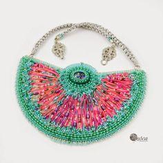 Bead embroidred necklace with shibori silk ribbon