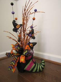 Witch Shoe Halloween Table Decoration Witch Hat by TheWrightWreath, $50.00