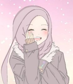 Anime Neko, Kawaii Anime Girl, Anime Art Girl, Girl Cartoon, Cartoon Art, Hijab Anime, Hijab Drawing, Islamic Cartoon, Hijab Cartoon