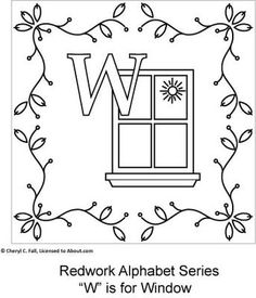 Redwork Alphabet Series - Part 4