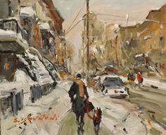 Adam St. Montreal Winter Painting, Oeuvre D'art, Montreal, Paintings, Explore, Painters, Paint, Painting Art, Draw
