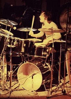 English drummer Keith Moon (1946 - 1978) of The Who performs on stage on the Quadrophenia tour, London, November 1973.