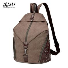 "Fashion Rivets Canvas Bag Match Good Leather Canvas Backpack 15"" Laptop Backpack Man Bag Woman Bag 1298"