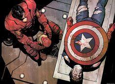 Iron Man and Captain America (Steve Rogers / Tony Stark, Avengers Fanart)