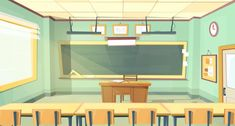 Cartoon background with empty classroom, interior inside Free Vector Zoom Wallpaper, Phone Screen Wallpaper, Casa Anime, Design Plano, Classroom Background, School Hallways, Classroom Management Strategies, Cartoon Background, Background Banner