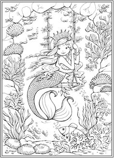 Little Mermaid Friends Coloring Book @ Dover Publications Mermaid Coloring Pages, Pattern Coloring Pages, Fairy Coloring, Cute Coloring Pages, Mandala Coloring, Printable Coloring Pages, Adult Coloring Pages, Coloring Sheets, Coloring Books