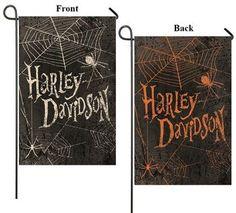 Harley Davidson Spider Web 2 sided Halloween Garden Flag