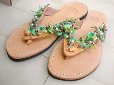 Beaded leather sandals Greek genuine leather by dadahandmade, €35.00