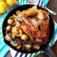 Use the drippings from the spiced roasted chicken to make the most amazing lemon garlic roasted potatoes.