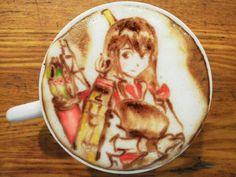 latte art anime - Google Search Anime Coffee, Latte Art, Coffee Art, Food Art, Tableware, Shoujo, Japanese, Google Search, Fun