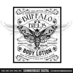 Silence of the Lambs SVG Buffalo Bill's Body Lotion svg St Paddys Day, Silhouette Designer Edition, Buffalo Bills, Vinyl Cutting, Transfer Paper, Diy Shirt, Dr Hannibal, Hannibal Lecter, Body Lotion