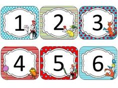Dr. Seuss Theme Calendar Cards {EDITABLE} Calendar cards with holiday's, numbers, and an extra editable page you can use to add special events. Great for any classroom!