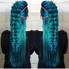 IN LOVE with this hair colour and style! Very Game of Thrones meets Little Mermaid! #bluehair #turquoisehair #blue #hair #littlemermaid #gameofthrones #hairstyle #hair #hairstylist #haircolor #hairbraiding #longhair #stronghair #beautiful #braids #plaits #queen #princess