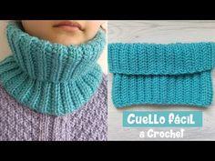 Cuello a crochet para principiantes tejido con un solo rectángulo. Crochet Neck Warmer, Cowl Neck, Fingerless Gloves, Arm Warmers, Crochet Hats, Knitting, Youtube, Fashion, Neck Warmer