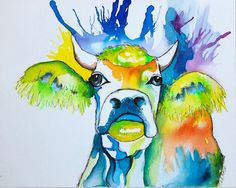Inky Cow Original Artwork, Original Paintings, Picture Wire, Pigment Ink, Image Shows, Pet Birds, Make Me Smile, Cow, Moose Art