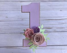 One year old cake topper, Floral cake topper, number 1 cake topper, one cake topper, glitter cake topper, cake smash floral cake topper