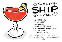 The Last Ship Home Cocktail: rum, cachaca, campari, velvet falernum, pineapple-mango syrup, lime juice, orgeat