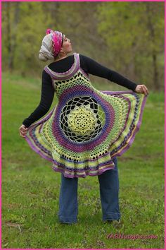 YARNutopia: Spring Sun Mandala Vest - free crochet pattern and video tutorial by Nadia Fuad.