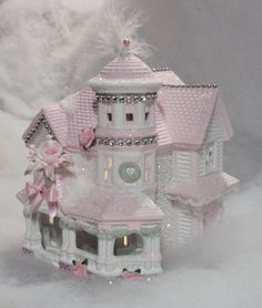 My shabby chic style lighted Christmas village houses
