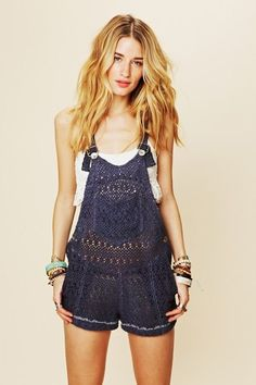 "I will never make this (too time consuming), but how cute is this??? Crochet ""Overall Shorts""!"