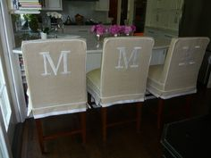Slipcoversource.com monogrammed counter stools