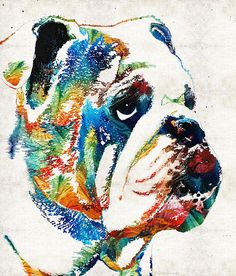 Bulldog Pop Art - How Bout A Kiss by Sharon Cummings Fine Art Prints and Poster for Sale #sharoncummings
