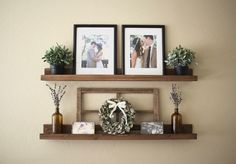 Rustic Wooden Picture Ledge Shelf, Gallery Wall Shelf, Rustic Floating Shelf, Wooden Shelf, Rustic Home Decor, Gallery Wall Decor, Gallery by DunnRusticDesigns on Etsy https://www.etsy.com/listing/205466114/rustic-wooden-picture-ledge-shelf