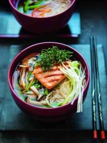 Griddled salmon in suimono with somen noodles
