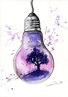 Inside Light von LucieOn - Ink Art by LucieOn - Cool Art Drawings, Pencil Art Drawings, Art Drawings Sketches, Ballet Drawings, Oil Pastel Drawings, Colorful Drawings, Drawing Ideas, Doodle Art, Light Bulb Art