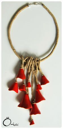 necklace, linen thread, ink and clay polymèe alcohol mix, varnish