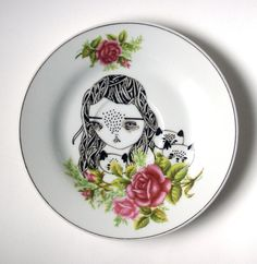 hand painted plate girl with three cats by prettylittlethieves
