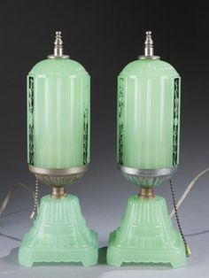 Pair of Art Deco Glass Boudoir Lamps c. 1920.