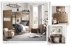 Love the bed as full-over-full plus trundle in driftwood.  Also, the canoe maquette and and industrial lanterns in rust.